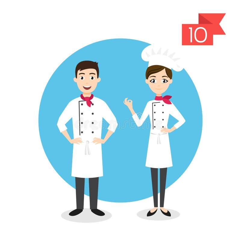 Zawodów charaktery: mężczyzna i kobieta kucharz ilustracja wektor