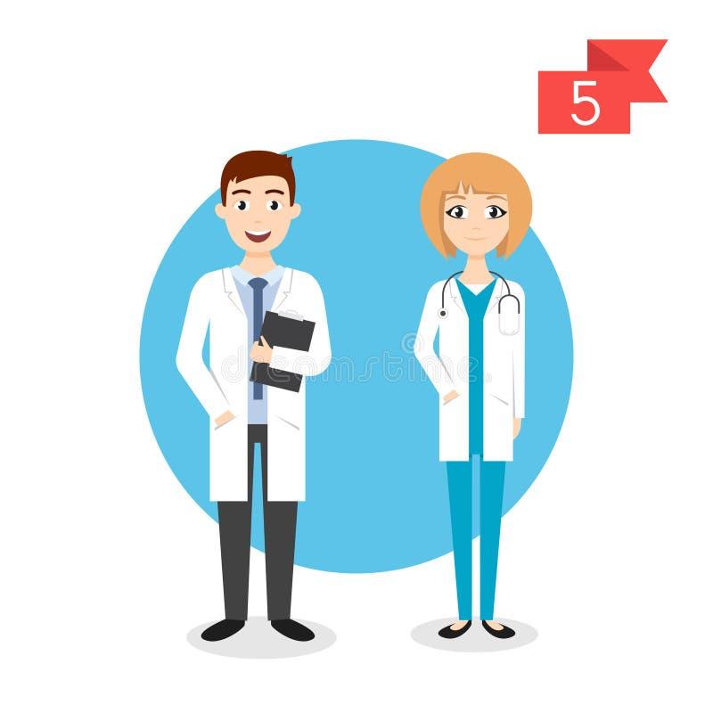 Zawodów charaktery: mężczyzna i kobieta lekarka ilustracja wektor
