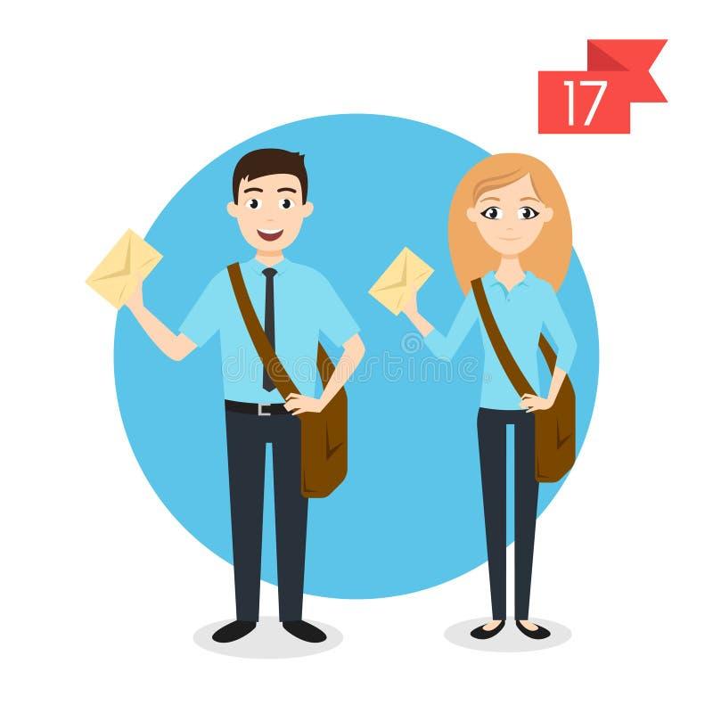 Zawodów charaktery: mężczyzna i kobieta Listonosz lub mailman ilustracja wektor