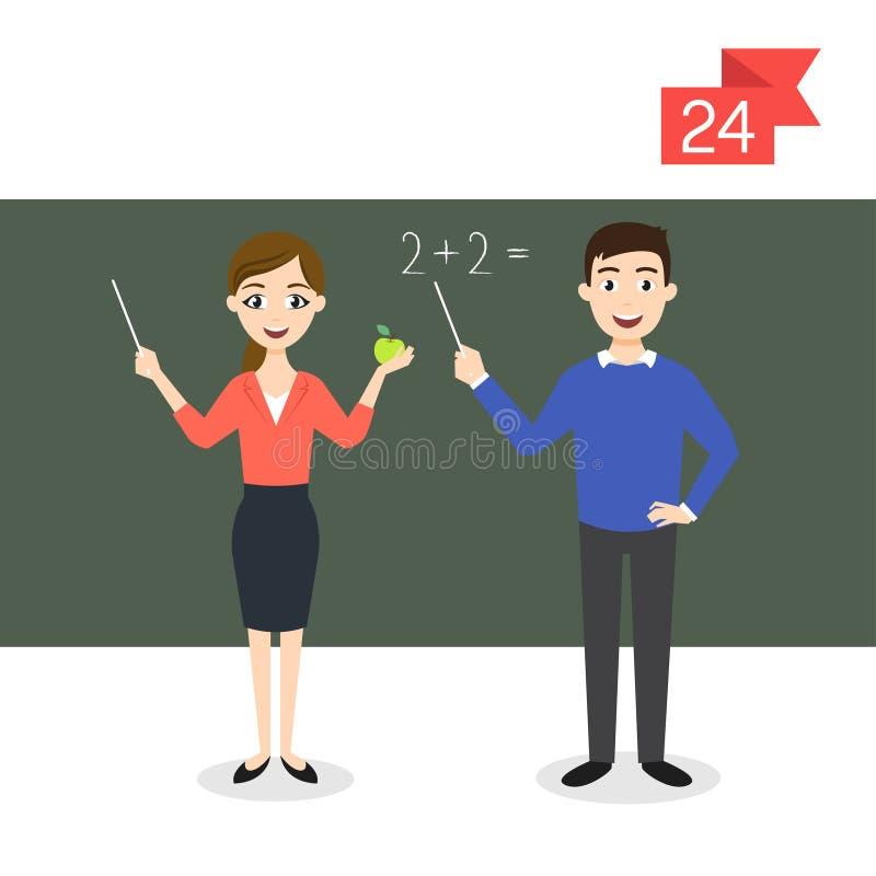 Zawodów charaktery: mężczyzna i kobieta nauczyciel royalty ilustracja