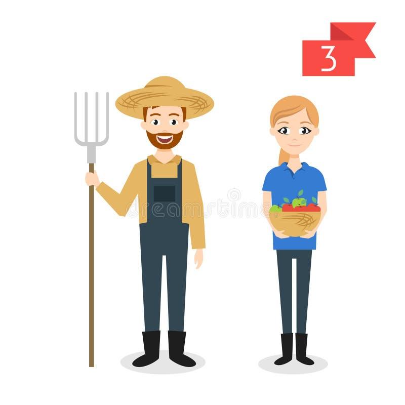 Zawodów charaktery: mężczyzna i kobieta rolnik ilustracji