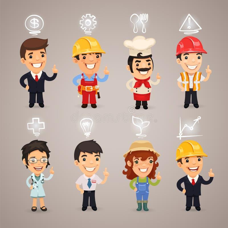 Zawodów charaktery z ikonami royalty ilustracja