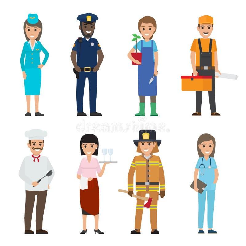 Zawodów postać z kreskówki ikon Ustawiać ludzie royalty ilustracja