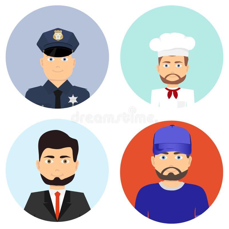 zawodów różni ludzie Policjant, kucharz, biznesmen, atleta royalty ilustracja