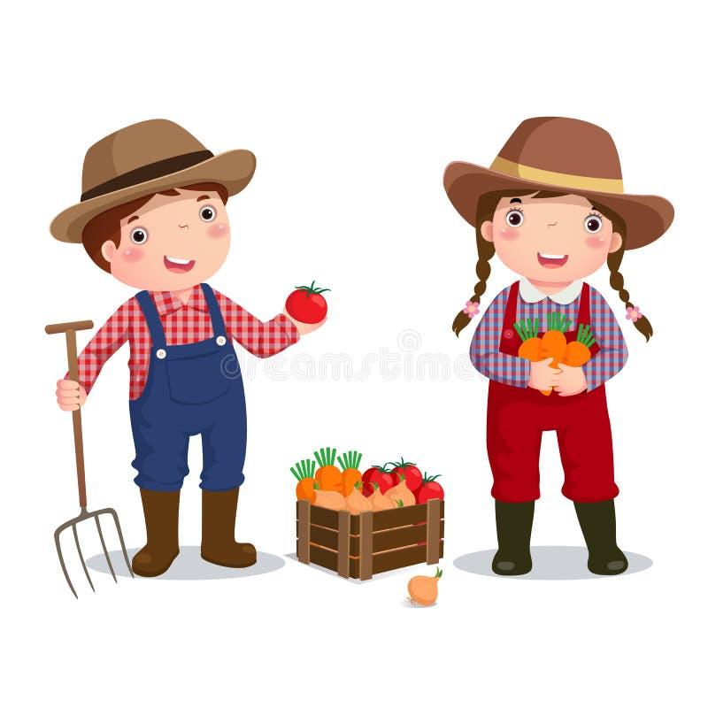 Zawodu kostium rolnik dla dzieciaków ilustracja wektor