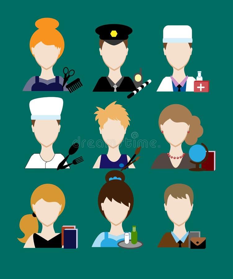 Zawodu policjanta ludzie, lekarka, kucharz, fryzjer, artysta, nauczyciel, kelner, biznesmen, sekretarka Twarz mężczyzna mundur av royalty ilustracja