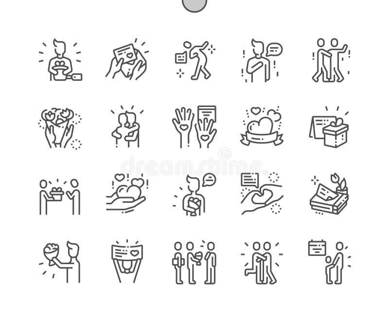 Zawody międzynarodowi Dziękuje Ciebie dla sieci Apps i grafika dzień Wykonująca ręcznie piksel Doskonalić wektor ikon 30 Cienka K ilustracja wektor