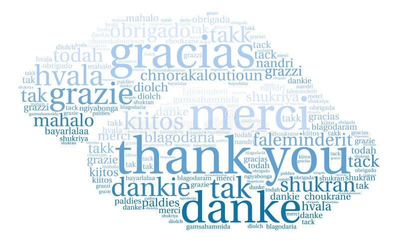 Zawody międzynarodowi Dziękuje Ciebie Formułować chmurę ilustracji