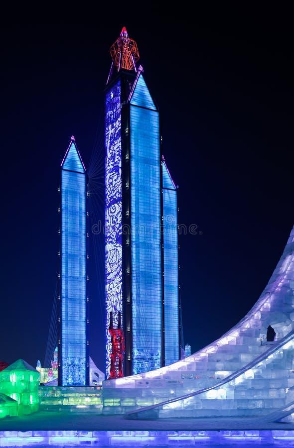 Zawody międzynarodowi Lodowej i Śnieżnej rzeźby festiwal, Harbin, Chiny obrazy royalty free