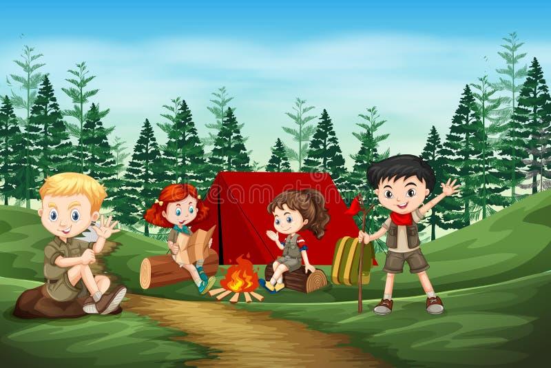 Zawody międzynarodowi skautowski camping w lesie ilustracji