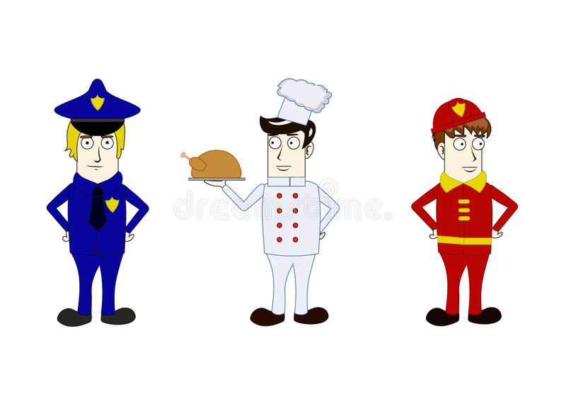 Zawody policjanci, kucharz, palacz royalty ilustracja