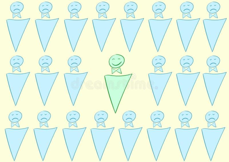Zawodzący i szczęśliwy ilustracja wektor