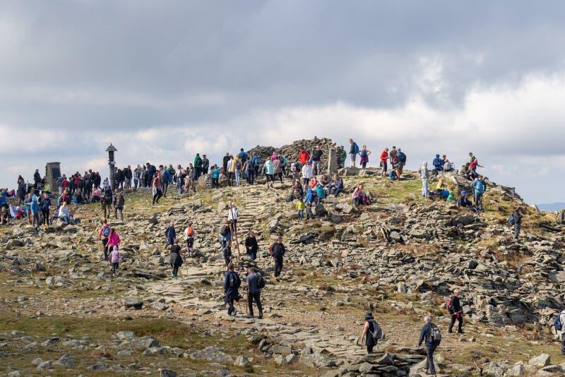 ZAWOJA POLSKA, WRZESIEŃ, - 16, 2018: Wysoka góra w Polskich Beskid górach ludzie na wierzchołku Babia Gora, Diablak - zdjęcia stock