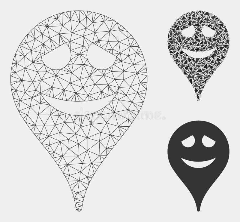 Zawstydzenie mapy markiera Smiley Wektorowej siatki trójboka i modela mozaiki 2D ikona ilustracji
