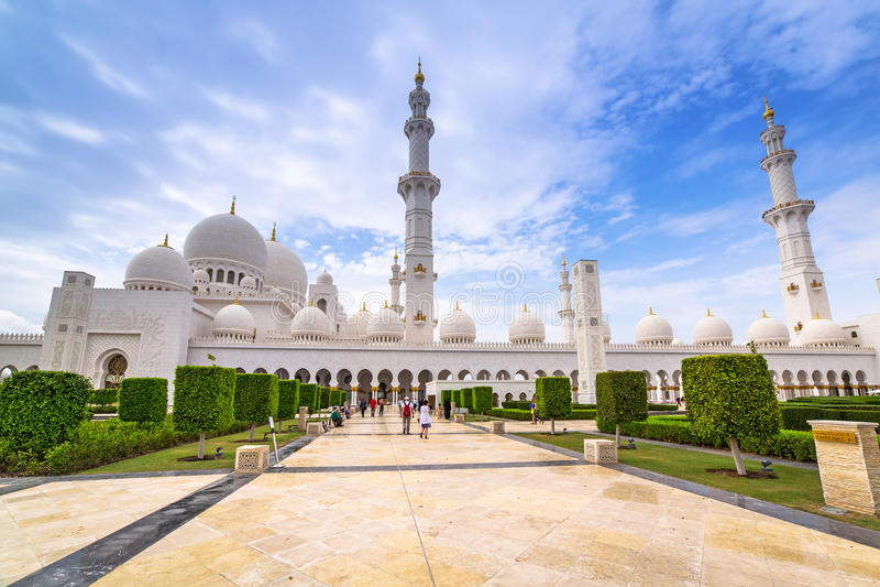 zayed Grand Mosque回教族长在阿布扎比 免版税库存图片