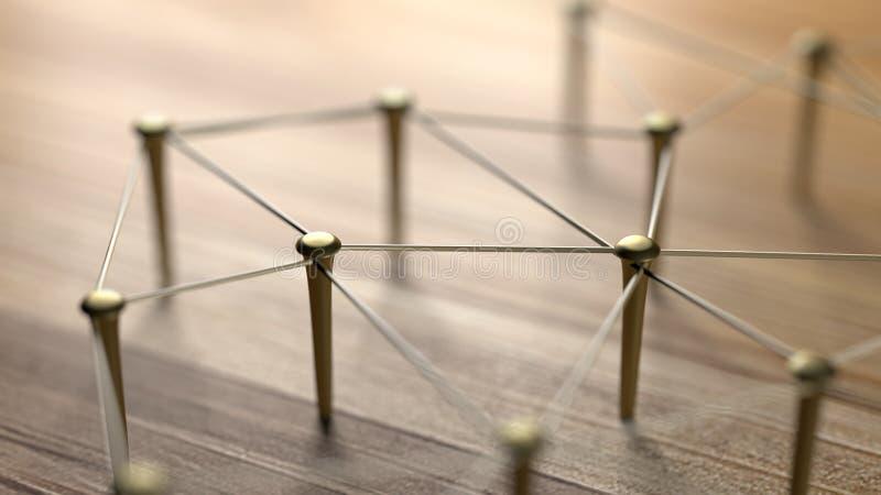 Zazębianie jednostki Sieć, networking, ogólnospołeczni środki, internet komunikaci abstrakt Sieć złoto druty na nieociosanym drew royalty ilustracja