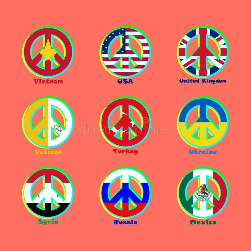Zaznacza krajów świat jako znak pacyfizm ilustracja wektor