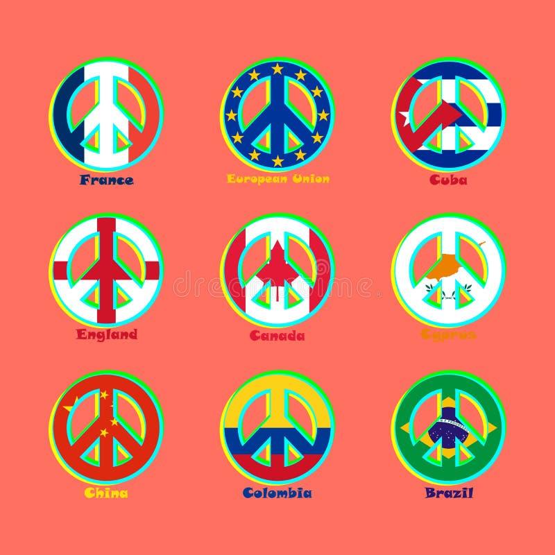 Zaznacza krajów świat jako znak pacyfizm ilustracji