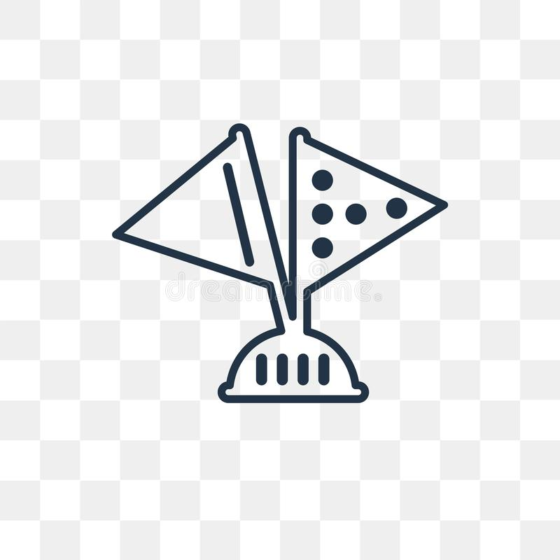 Zaznacza wektorową ikonę odizolowywającą na przejrzystym tle, liniowy Fla ilustracja wektor