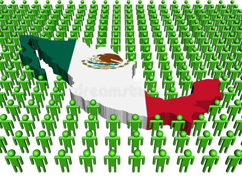 zaznacza wiele mapy Mexico ludzi royalty ilustracja
