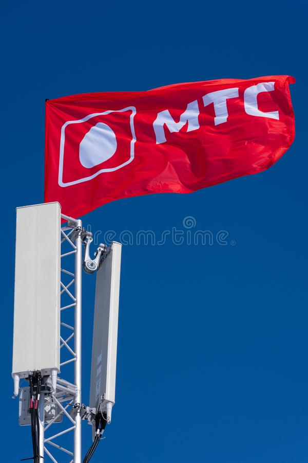 Zaznacza z logotypem Rosyjscy mobilnego operatora MTS wiszącej ozdoby TeleSystems zdjęcie stock