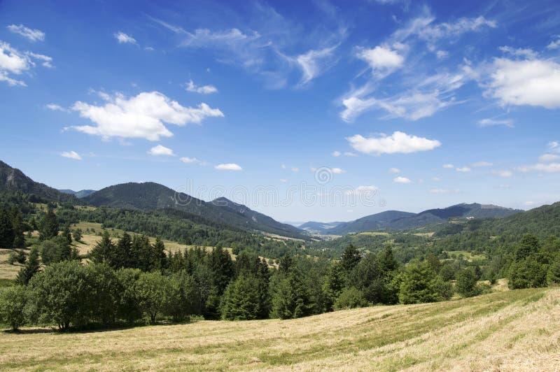Zazriva en Terchova-dorpen, lange vallei, Lesser Fatra-bergen, zonlicht, gebieden en weiden royalty-vrije stock foto