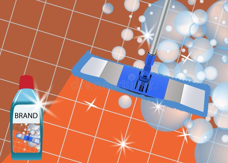 Zazzera che pulisce pavimento pulito brillante Pulitore disinfettante per lavare i pavimenti Vettore royalty illustrazione gratis