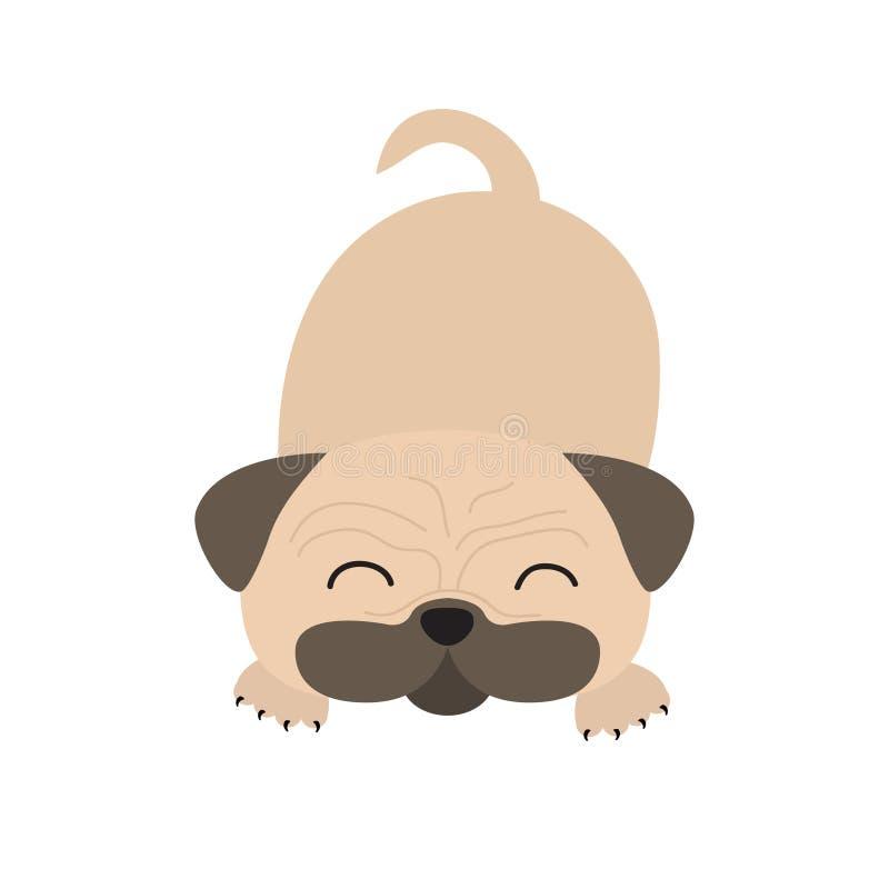 Zazzere del cane del carlino Personaggio dei cartoni animati sveglio Progettazione piana Isolato Fondo di Wite royalty illustrazione gratis