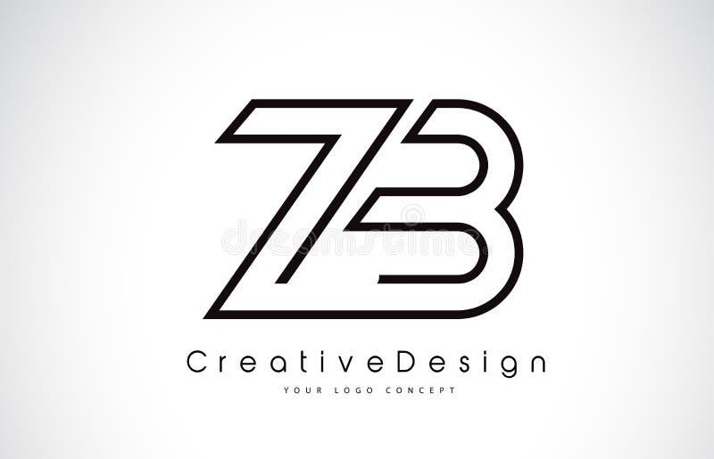 Z!b_zb z b信件在黑颜色的商标设计