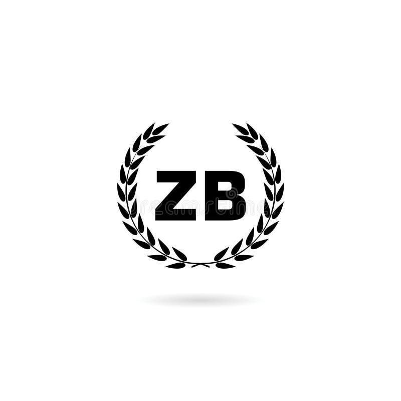 ZB Z B Logo Design with Black and White Creative Icon stock illustration