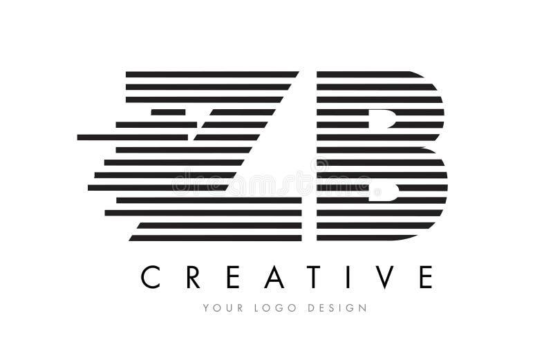 ZB Z B Zebra Letter Logo Design with Black and White Stripes stock illustration