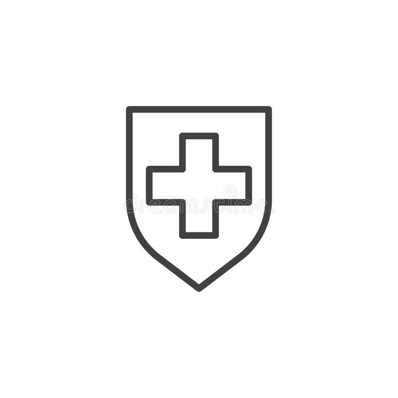 Zbawcza osłona z medyczną krzyż linii ikoną ilustracji