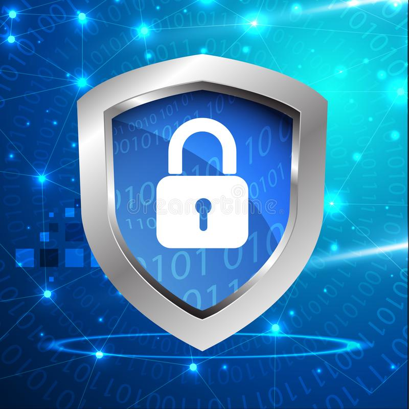 Zbawcza osłony opancerzenia gacenia pojęcia cyber ochrona ilustracji