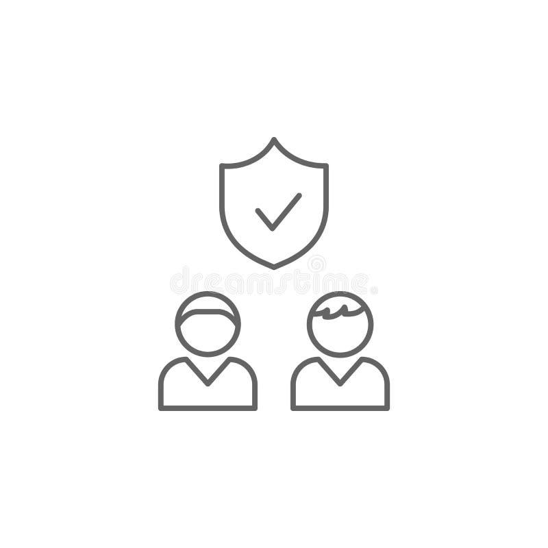 zbawcza wiary przyjaźni konturu ikona Elementy przyjaźni linii ikona Znaki, symbole i s, mogą używać dla sieci, logo, royalty ilustracja