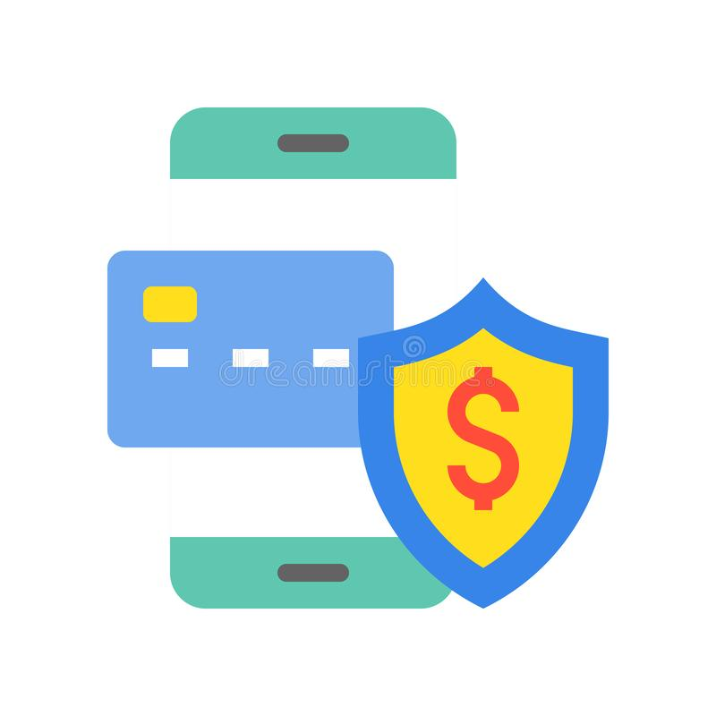 Zbawcza zapłata kredytową kartą, telefonem komórkowym i ochronną osłoną, ilustracji