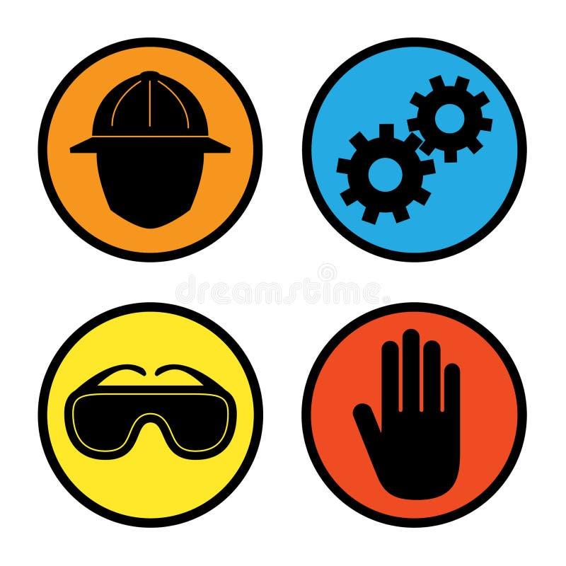 zbawcze fabryczne ikony ilustracja wektor
