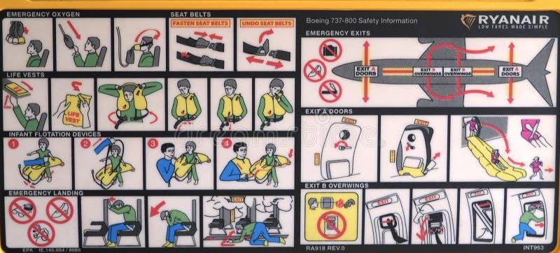 Zbawcze instrukcje na siedzeniu samolot zdjęcia stock