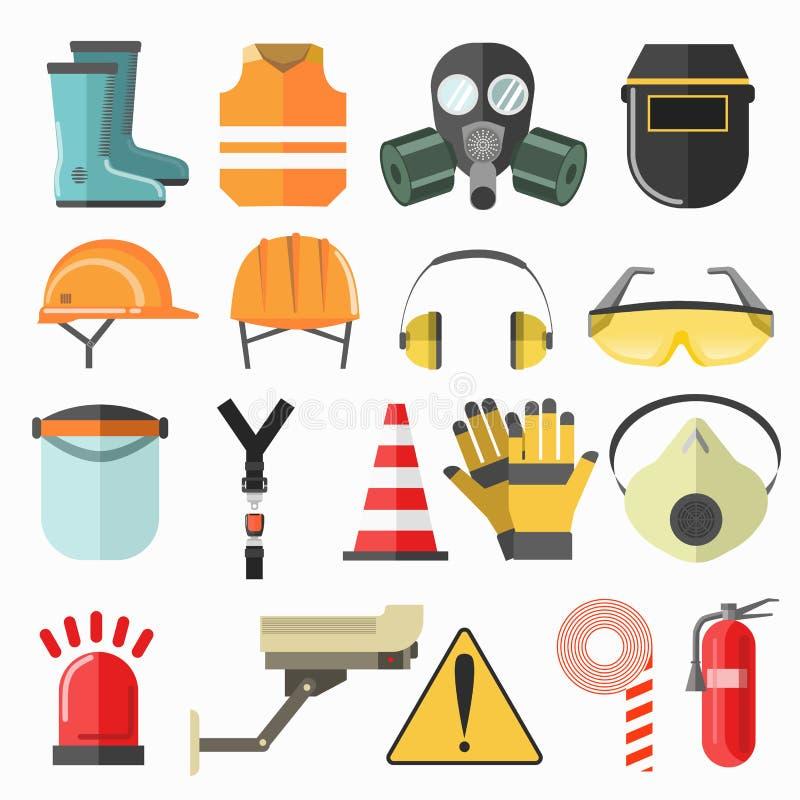 Zbawcze prac ikony Bezpieczeństwo przy prac wektorowymi ikonami inkasowymi ilustracja wektor