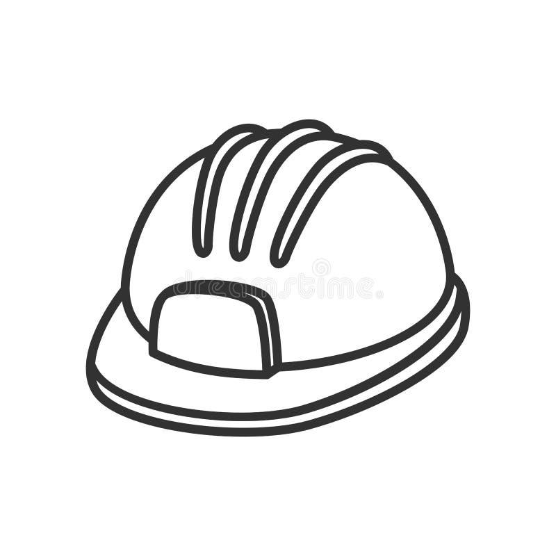 Zbawczego hełma lub Ciężkiego kapeluszu konturu mieszkania ikona ilustracji