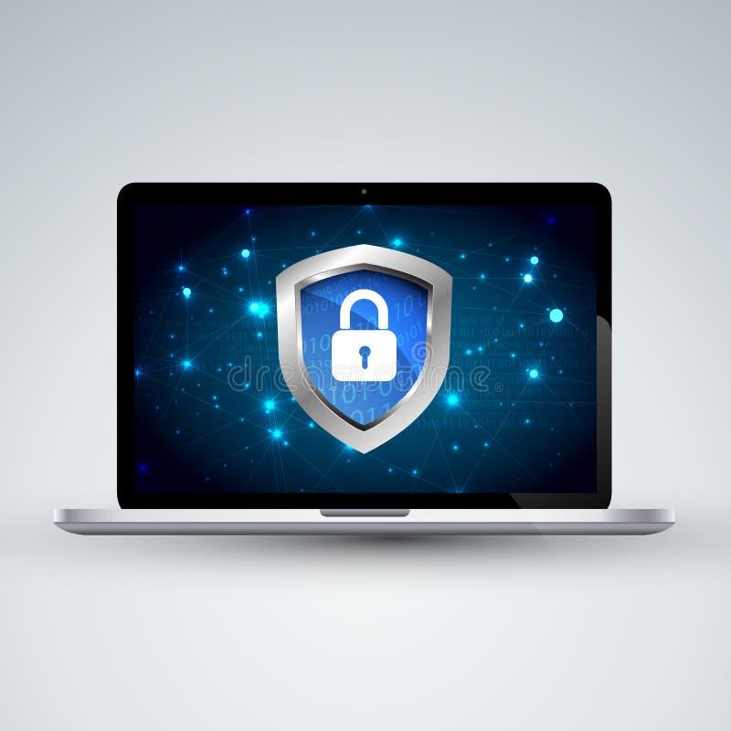 Zbawczego pojęcia cyber cyfrowa ochrona, royalty ilustracja