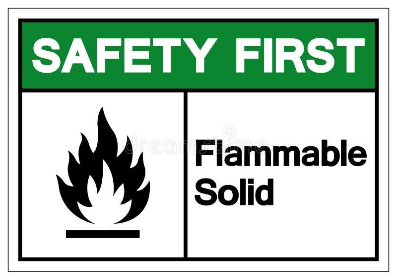 Zbawczy Flammable bryły symbolu znak Najpierw, Wektorowa ilustracja, Odizolowywa Na Białej tło etykietce EPS10 ilustracja wektor