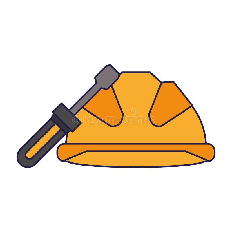 Zbawczy hełm z śrubokręt naprawą i budową wytłacza wzory ochron ostrzegawcze niebieskie linie ilustracja wektor