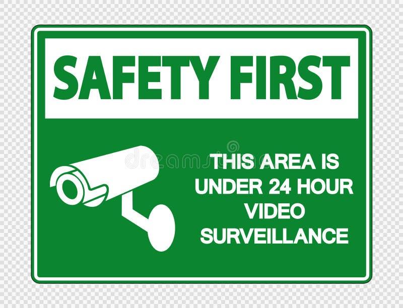 Zbawczy najpierw jest Pod 24 godziny inwigilacji Wideo znakami na przejrzystym tle Ten teren ilustracja wektor