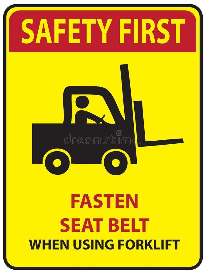 Zbawczy najpierw - przymocowywa pas bezpieczeństwa ilustracja wektor