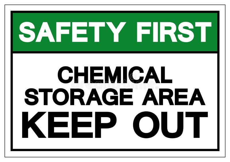Zbawczy Pierwszy Chemiczny miejsce składowania Utrzymuje Za symbolu znaku, Wektorowa ilustracja, Odizolowywa Na Białej tło etykie ilustracji