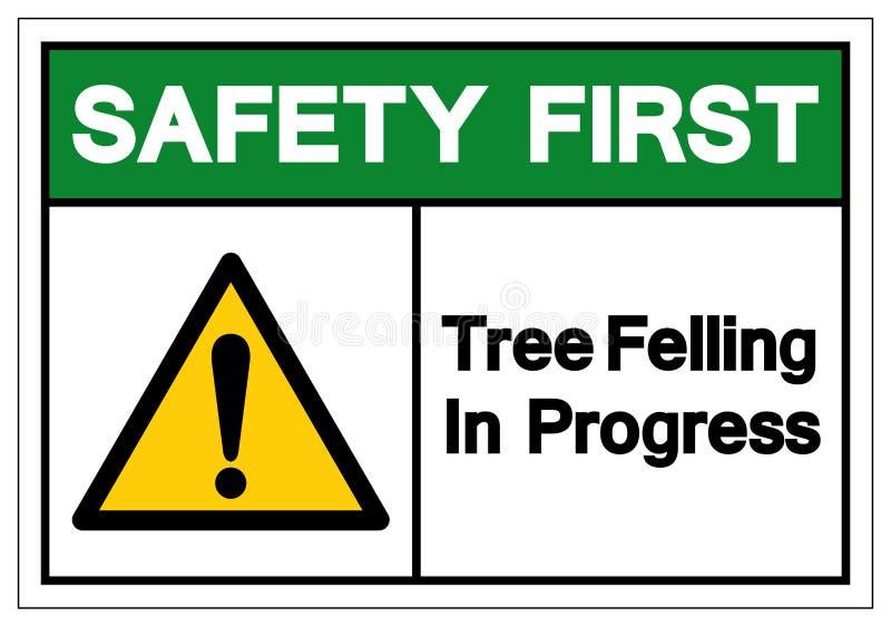 Zbawczy Pierwszy drzewo Powalać W Toku symbolu znaka, Wektorowa ilustracja, Odizolowywa Na Białej tło etykietce EPS10 ilustracji