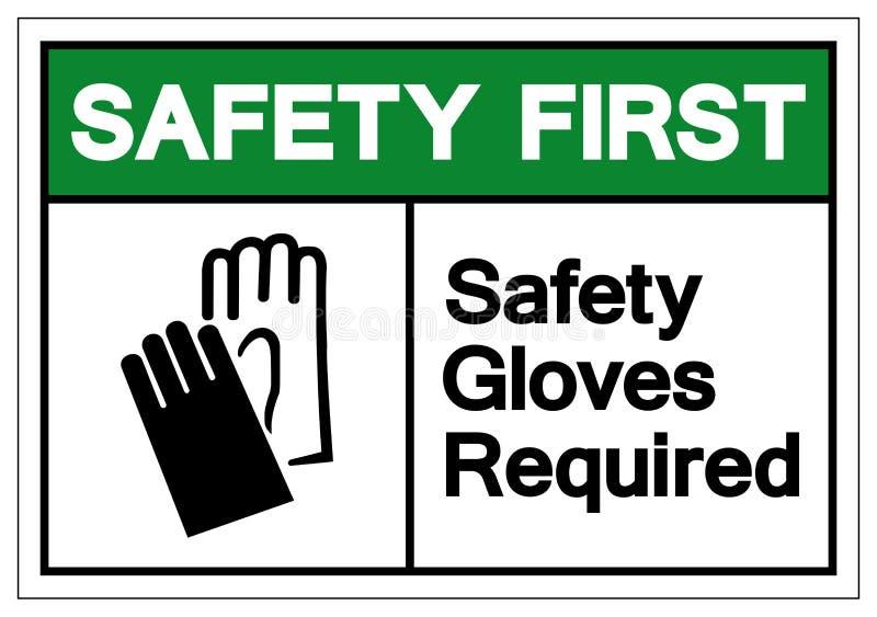 Zbawczy Pierwszy Zbawcze rękawiczki Wymagający symbolu znak, Wektorowa ilustracja, Odizolowywa Na Białej tło etykietce EPS10 ilustracji