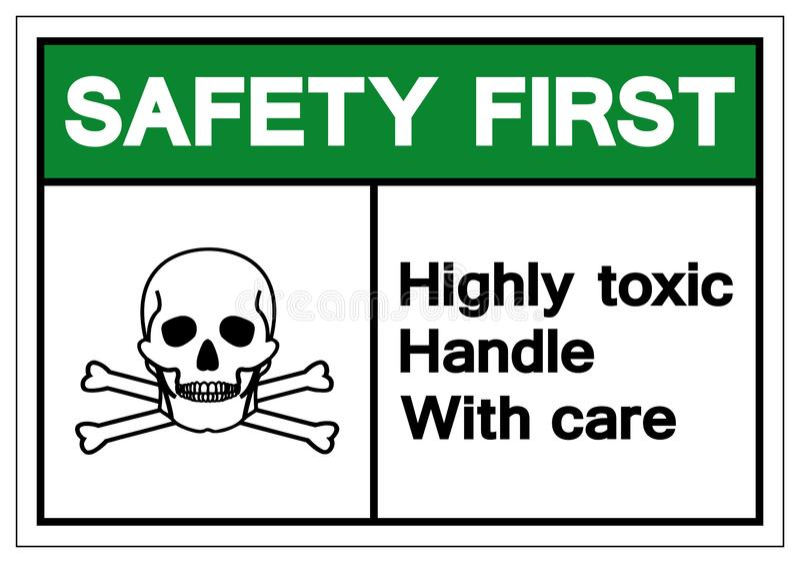 Zbawczy Wysoce Toksyczny rękojeść symbolu znak Najpierw Ostrożnie, Wektorowa ilustracja, Odizolowywa Na Białej tło etykietc ilustracji