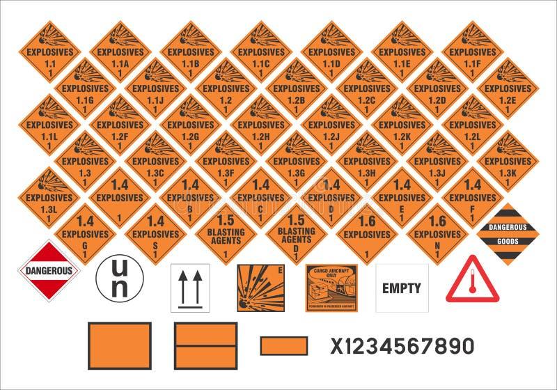 Zbawczy znaki ostrzegawczy wektor - transport Podpisuje 1/3 - royalty ilustracja