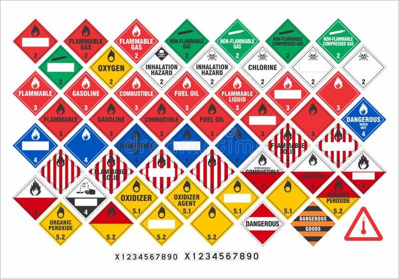 Zbawczy znaki ostrzegawczy wektor - transport Podpisuje 2/3 - royalty ilustracja